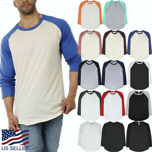 Mens-Baseball-Raglan-3-4-Sleeve-T-Shirt-Jersey-Casual-Tee-Team-Sports-Family