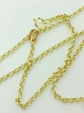 "10k Solid Yellow Gold Round Rolo Link Necklace Pendant Chain 16"" 1.9mm"