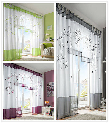 1PC Modern Sheer Voile Window Curtains Embroidered Bedding Living Room Decor