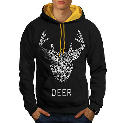 Energisch Wellcoda Deer Head Graphic Mens Contrast Hoodie, Linework Casual Jumper