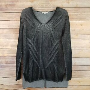 Two-By-Vince-Camuto-Womens-Size-M-Sweater-Gray-Black-Stripes-Long-Sleeve-V-Neck