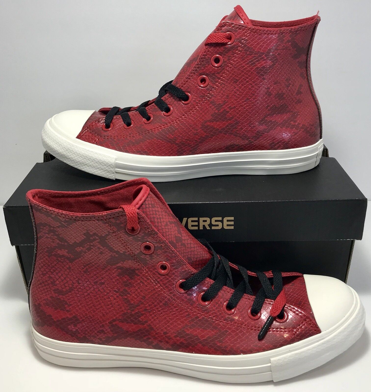 Converse Mens Size 11 Chuck Taylor All Star Hi Top Year Of The Snake Skin Red