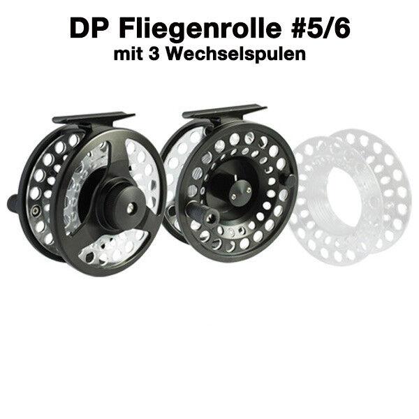 DP DP DP Fliegenrolle  5/6 Reel Fly, mit 3 Wechselspulen in Tasche, TOP fae92d