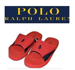 Polo-Ralph-Lauren-Mens-Sandals-Red-Slides-Pony-Flip-Flops-Canvas-9-10-11-12-13