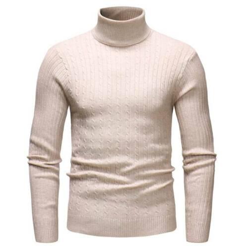 Herren Warme Rollkragen Hoher Hals Langarm Pullis Strickpullover Sweater Jumper