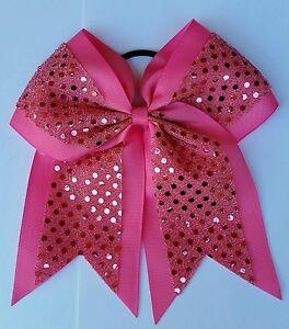 "8"" Pink Sequins, Big Cheer Bows, Softball Cheerleading, BREAST CANCER AWARENESS"