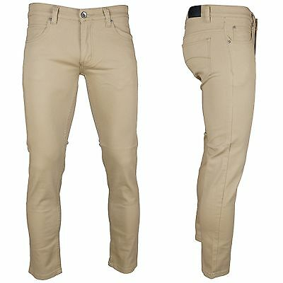 KAYDEN.K  KHAKI  Men's Skinny Jeans Twill Denim Pants Size 28 - 38