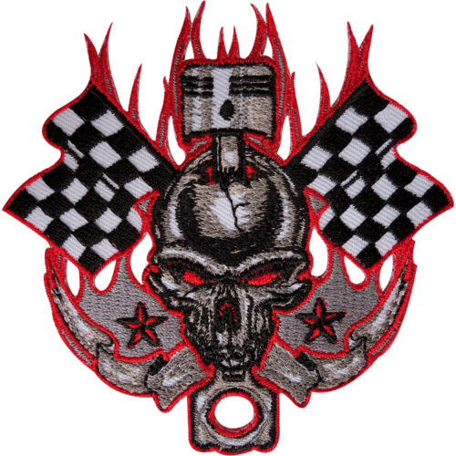 Skull Patch Badge Embroidered Applique Iron Sew On F1 Moto Motorbike Racing Flag