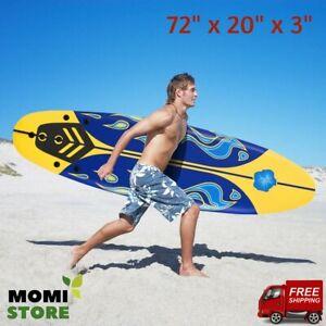 Surfboard-Longboard-Board-Surfing-Water-Sport-Foam-with-Removable-Fins-Yellow