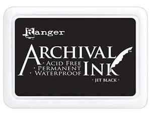 Ranger Archival Ink JET BLACK Permanent Ink Stamp Pad #0 Standard Size