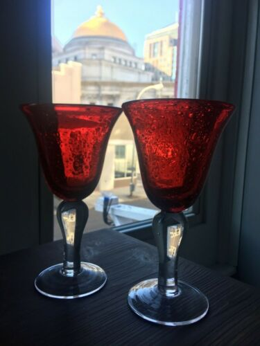 """Wine Goblet Glasses 2 pair Red Bubble Hand Blown Glass 8/"""" Water"""