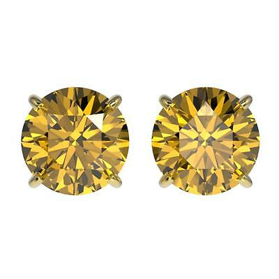 3003. 2 CTW Certified Intense Yellow SI Diamond Solitaire Stud Earring Gol... Lot 3003