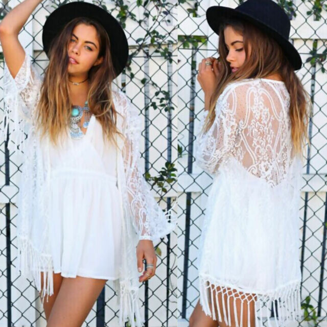 Women Boho Tassels Fringe Lace Kimono Cardigan Beach Cover Up Cape Jacket S M L