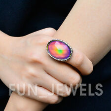 New Statement Oval Mood Stone Ring Multi Color Changing Facet Stone Free Box