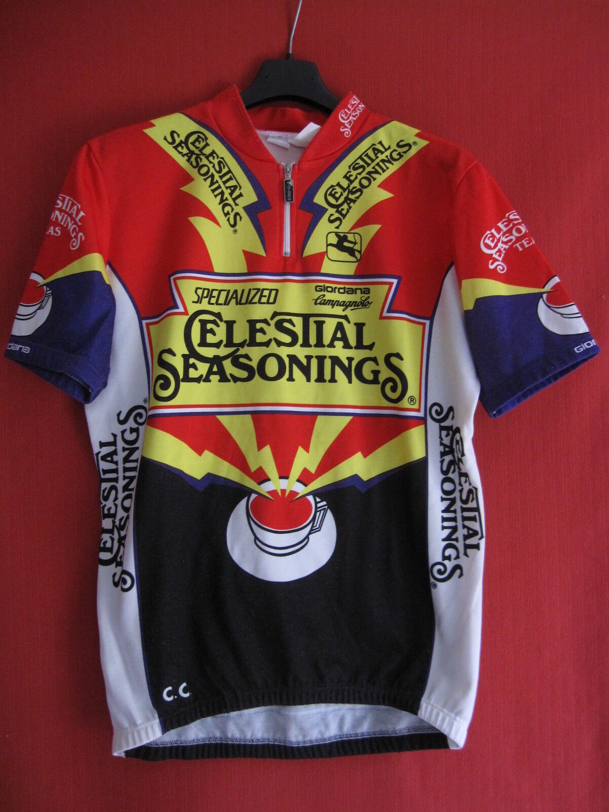 Maillot cycliste Celestial Seasonings rosso Zinger Bicycle Vintage jersey  4  L