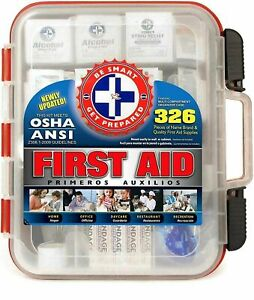 First Aid Kit Hard Red Case Box 326 Pieces Exceeds OSHA and ANSI Guidelines