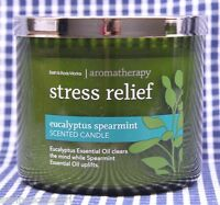 Bath & Body Works Stress Relief Eucalyptus Spearmint Aromatherapy 3-wick Candle