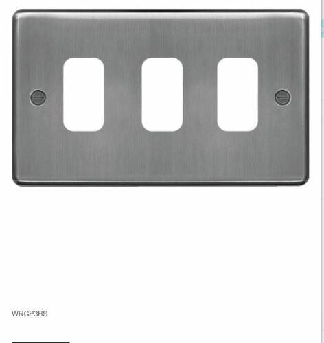 Hager Sollysta WRGP3BS Brushed Steel 3 Gang Grid Plate
