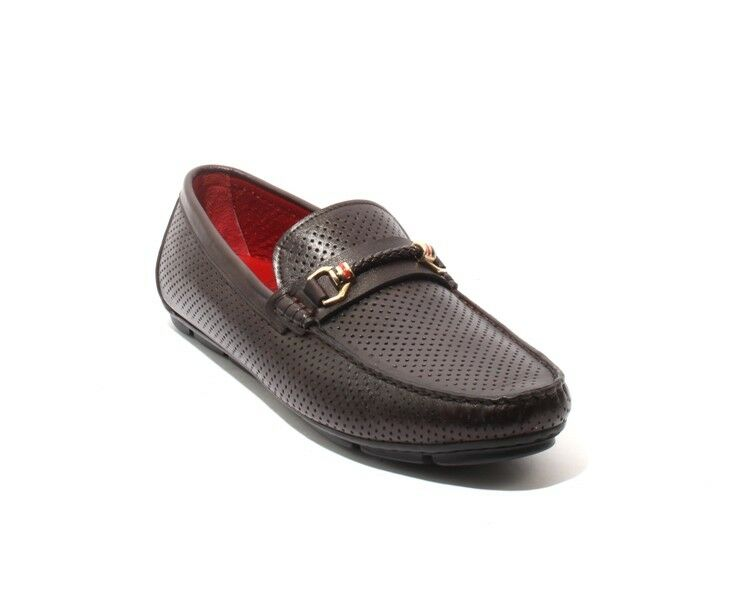 ROBERTO SERPENTINI 4309a marrone Perforated Pelle Moccasins Loafers 42 / US 9