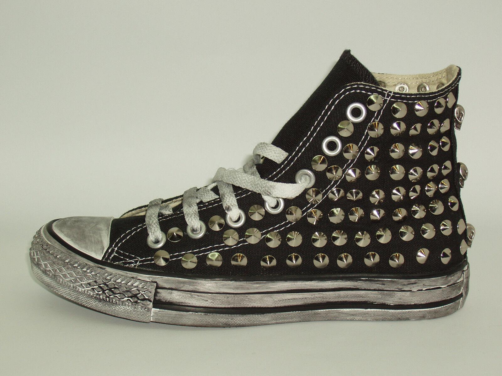 Converse all donna star Hi borchie teschi  scarpe donna all uomo nero artigianali cd20e3