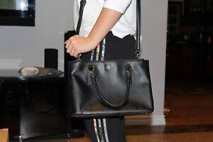 9affb100d916 Image is loading TORY-BURCH-Robinson-Mini-Double-Zip-Tote-Black
