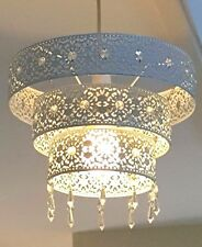3 Tier Large Moroccan White Metal Jewelled Droplet Pendant Light Chandelier cut