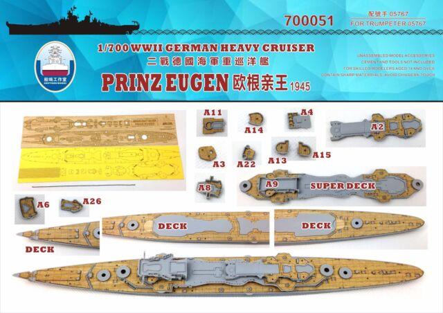 Shipyard 700051 1//700 Wood Deck German Prinz Eugen 1945 for Trumpeter