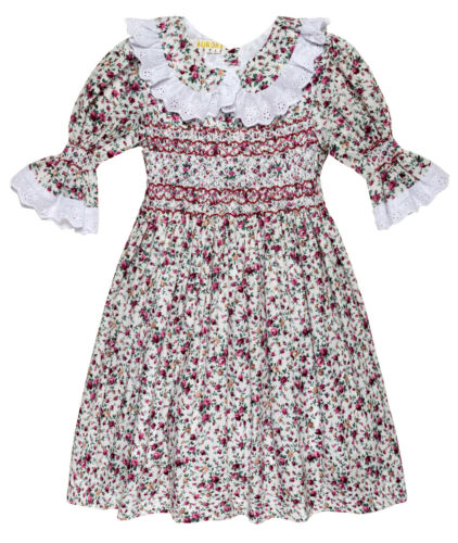 "Aurora Royal Girls  /"" Blossom/"" Hand Smocked Floral Printed 3//4 sleeves dress"