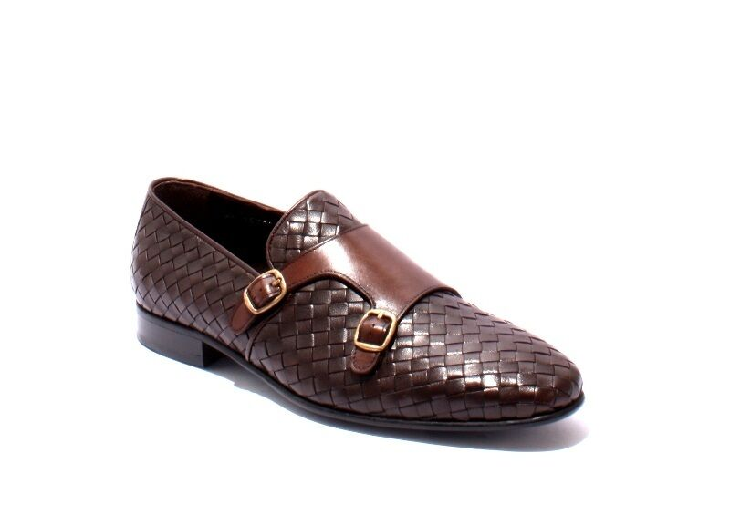 Scarpe casual da uomo  ROBERTO SERPENTINI 16915 Brown Leather Classic Buckle Shoes 45 / US 12