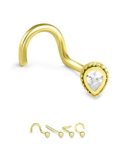 18K White or Yellow Gold Nose Ring Stud Screw L Bend Bone Tear Drop CZ 20G