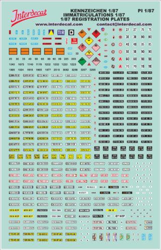 Decal Naßschieber Abziehbild PI1-87 140x90mm Französische Kennzeichen 1:87