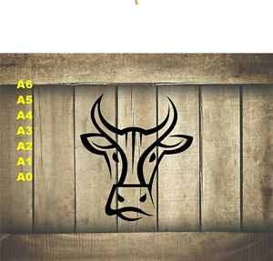 Stylized-Cow-Bull-Head-Stencil-350-micron-Mylar-not-thin-stuff-Farm012