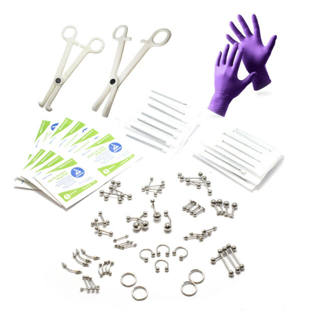 83-Piece Body Piercing Kit for Belly, Tongue, Nipple, Lip, Nose 14G & 16G Needle