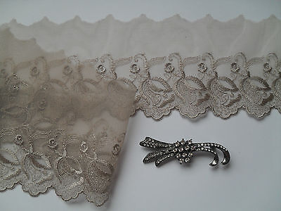 Mocha Coffee Taupe Voile Lace Embroidered Trim 9 cm//3.5 inch