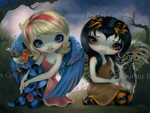 Jasmine-Becket-Griffith-art-print-fairy-birds-owl-robin-SIGNED-Owlyn-and-Robyn