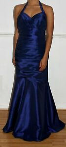 DRESS-TO-GO-Collection-Blue-Satin-Halter-Neck-Ballgown-Cocktail-Prom-Dress-Uk-8
