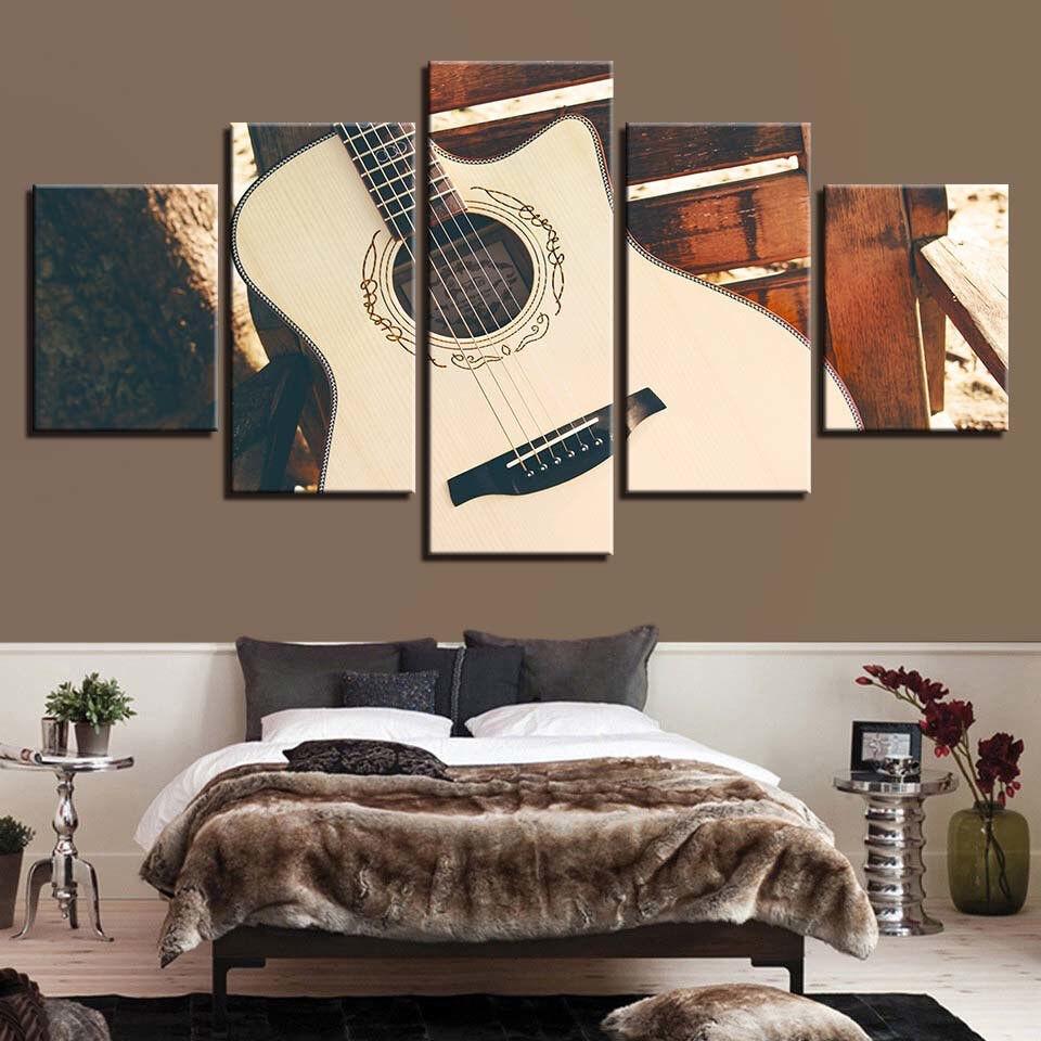 Classical Guitar Wood Acoustic 5 Panel Canvas Print Wall Art