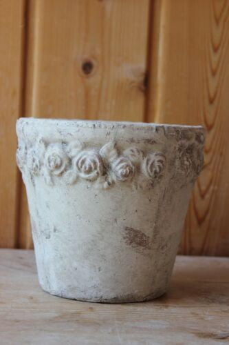 Außendurchm Pflanztopf rund mit Rosenrand aus Keramik♥H 15 cm Übertopf 16 cm