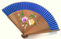 Chinese Bamboo Handfan Folded Fan In Peony Flower Design