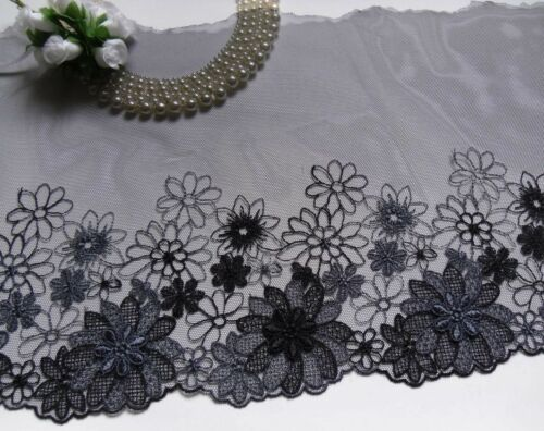 "Charcoal Grey Embroidered Net Trim with Venise Flower-1 Yard-T883 9.5/"" Black"