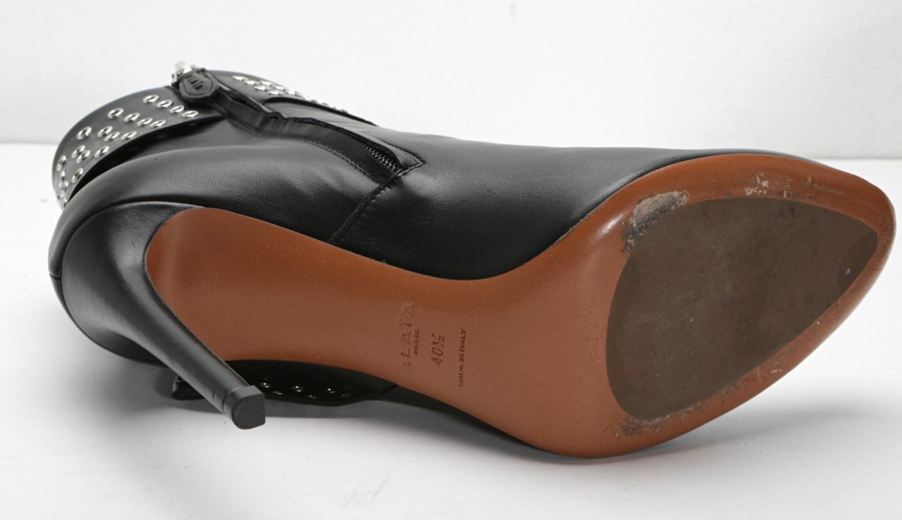 Alaia Damen Damen Damen Schwarzes Leder Ösen High-Heels Stiefeletten Stiefel 10.5-40.5 824199