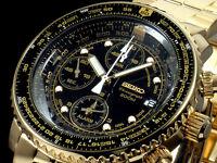 NEW MEN'S ALL GOLD SEIKO FLIGHTMASTER 200M ALARM CHRONOGRAPH WATCH SNA414P1