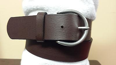 New GAP Womens Brown Fu Coated Split Leather Belt 617945 D Silver Buckle