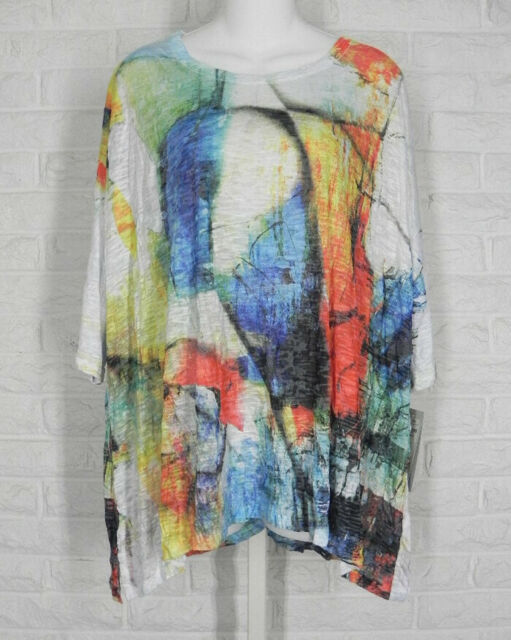 JESS & JANE Shirt Tunic Abstract Art Print Dolman Sleeve White Multi NWT M L