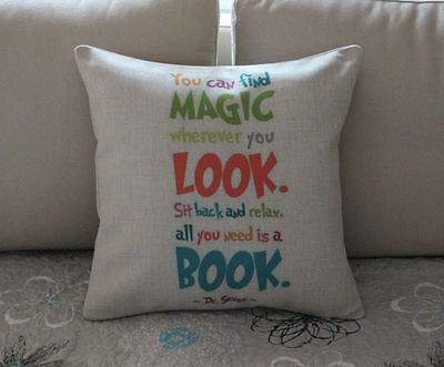 Colorful Dr.Seuss Quotes Cotton Linen Cushion Cover Throw Pillow Home Decor B608