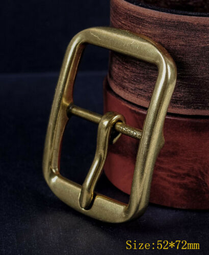 Heavy Brass Classic Center Bar Pin Belt Buckle for Leather Belt Fit 40mm Strap