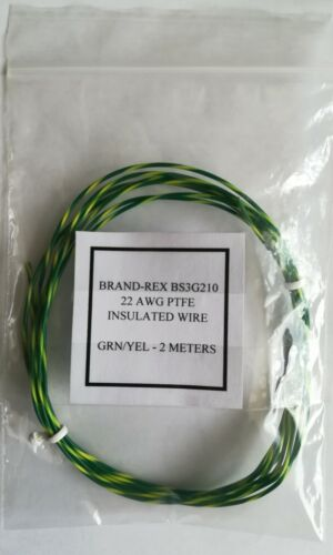 BRAND-REX PTFE GREEN//YELLOW INSULATED STRANDED COPPER WIRE 22 AWG 19//0.15mm
