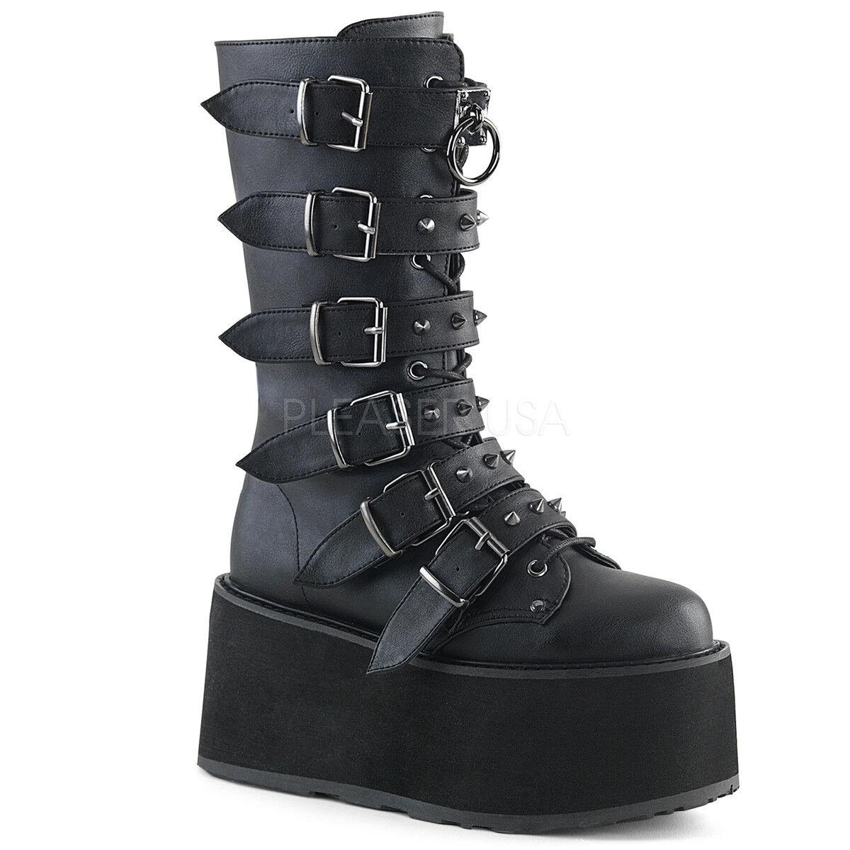 Demonia 3.5  Platform Damned Matte Black Buckle Buckle Buckle Boots 6 7 8 9 10 11 12 0132c0