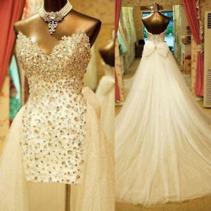Short Wedding Dresses Covered with Rhinestones