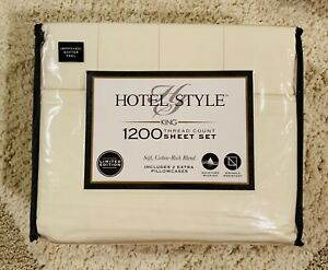 Hotel Style 1200 Thread Count KING Sheet Set Cotton Blend Moisture Wicking White